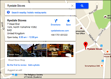 RYEDALE STOVES - Google Maps